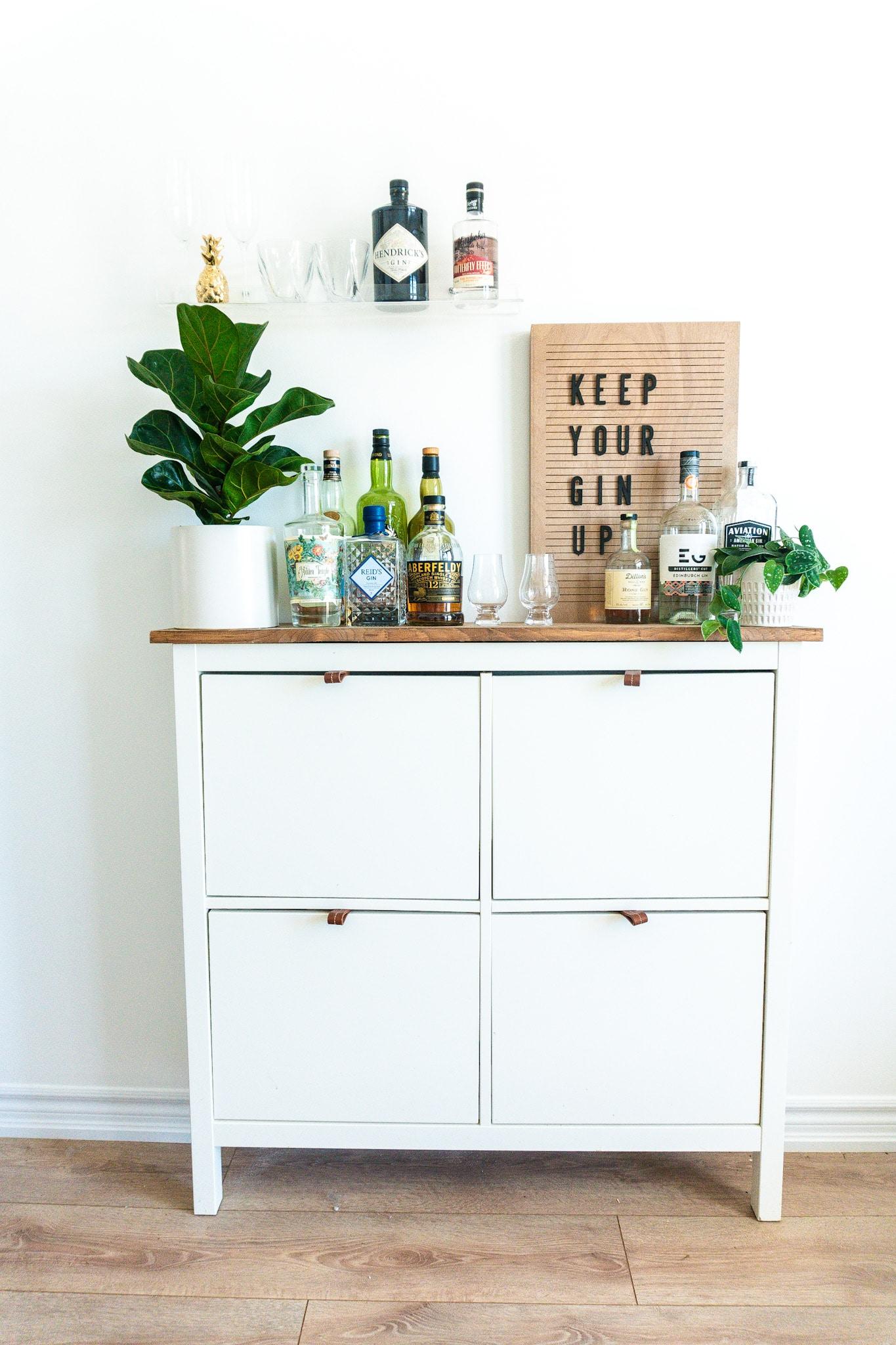 Ikea Shoe Cabinet Turned Bar Cart Lavender Julep